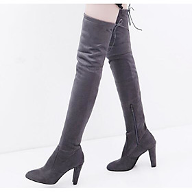 Women's Boots Over-The-Knee Boots Nubuck leather Over The Knee Boots Comfort / Fashion Boots Fall / Winter Black / Red / Gray / EU42