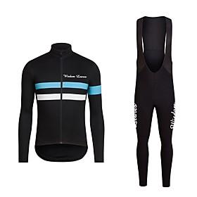 Men's Long Sleeve Cycling Jersey with Bib Tights Winter Fleece Polyester Black Bule / Black Bike Jersey Bib Tights Clothing Suit Sports Horizontal Stripes Moun