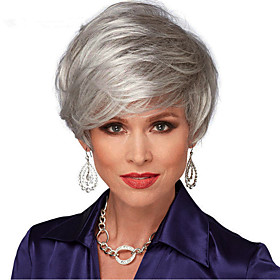 Synthetic Wig Straight Straight With Bangs Wig Short Silver Synthetic Hair Women's Natural Hairline Side Part Gray