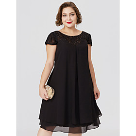 Sheath / Column Jewel Neck Knee Length Chiffon / Lace Short Sleeve Little Black Dress / Plus Size / See Through Mother of the Bride Dress w