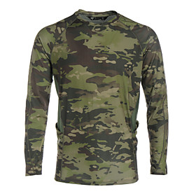 Men's Camouflage Hunting T-shirt Long Sleeve Outdoor Spring Summer Windproof Breathable Quick Dry Sweat-Wicking Camo / Camouflage Tee / T-shirt Top Camping / H
