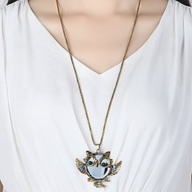 Men's Women's Pendant Necklace Owl Simple Hip-Hop Rhinestone Alloy Necklace Jewelry For Daily Going out