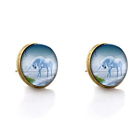 Women's Stud Earrings Animal Colorful Earrings Jewelry Bronze For Date New Year 2pcs