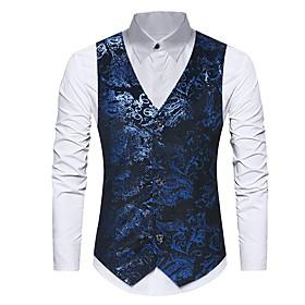 Men's V Neck Vest Regular Floral Daily Spring Fall Print Sleeveless Black / Blue S / M / L / Slim