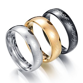 Men's Band Ring One-piece Suit Black Silver Golden Stainless Steel Metal Circle Wedding Valentine Jewelry Cheap