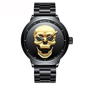 Men's Wrist Watch Japanese Quartz Stainless Steel Black Water Resistant / Waterproof Chronograph Casual Watch Analog Luxury Skull Fashion Unique Creative - Gol