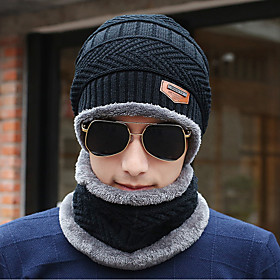 Men's Floppy Hat Sweater Work - Solid Colored Knitted Winter Black Gray