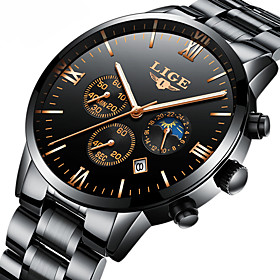 Men's Dress Watch Mechanical Watch Quartz Watches Japanese Quartz Luxury Water Resistant / Waterproof Analog Rose Gold Black Red / Stainless Steel / Stainless