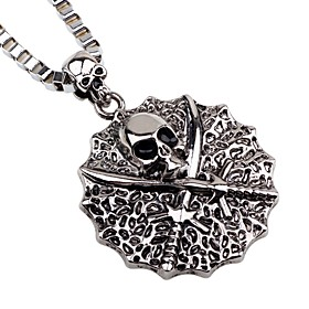 Men's Pendant Necklace Skull Pirates Gothic Oversized Satanic Alloy Silver Necklace Jewelry One-piece Suit For Date Bar
