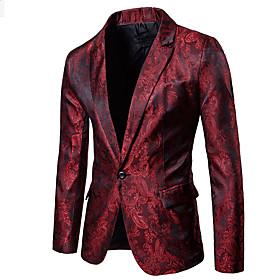 Men's Blazer Regular Floral Print Casual / Daily Sophisticated Black / Purple / Wine M / L / XL