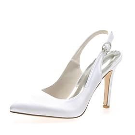 Women's Wedding Shoes Plus Size Stiletto Heel Pointed Toe Basic Pump Wedding Party  Evening Buckle Satin Summer White / Red / Blue / EU42