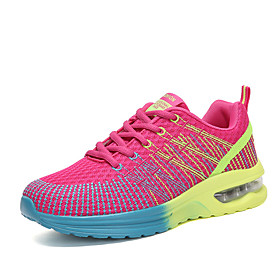 Women's Trainers / Athletic Shoes Flat Heel Round Toe Comfort Outdoor Color Block Tulle Running Shoes Purple / Fuchsia / Gray / EU39