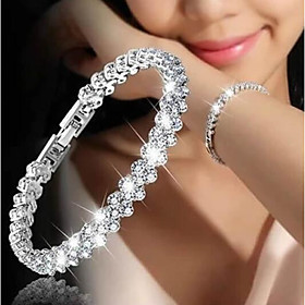 Women's Cubic Zirconia tiny diamond Chain Bracelet Tennis Bracelet Tennis Chain Dainty Ladies Korean Fashion Bridal Alloy Bracelet Jewelry Silver For Wedding G