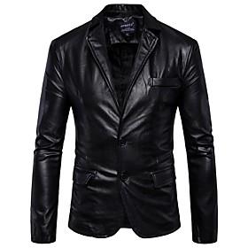 Men's Work Street chic Regular Leather Jacket, Solid Colored Shirt Collar Long Sleeve PU Brown / Black