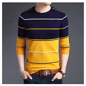Men's Basic Print Striped Pullover Long Sleeve Regular Sweater Cardigans Round Neck Fall Winter White Blue Camel