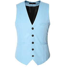 Men's V Neck Spring Vest Regular Solid Colored Daily Sleeveless Black Purple Red US32 / UK32 / EU40 US34 / UK34 / EU42 US36 / UK36 / EU44 / Fall / Business For