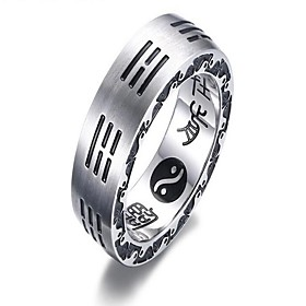 Men's Ring Settings One-piece Suit Silver Titanium Steel Titanium Circle Vintage Gift Daily Jewelry