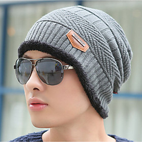 Men's Floppy Hat Sweater Work - Solid Colored Knitted Winter Gray