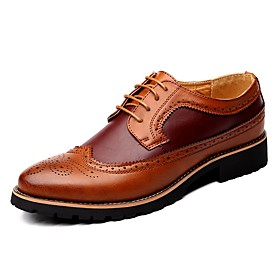 Men's Oxfords Brogue Leather Shoes Comfort Shoes British Casual Leather Black / Brown / Yellow Spring / Fall / Lace-up / EU42