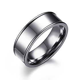 Men's Band Ring Silver Stainless Steel Circle Fashion Wedding Formal Jewelry