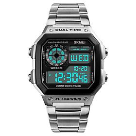 Men's Sport Watch Wrist Watch Digital Watch Japanese Digital 50 m Water Resistant / Water Proof Alarm Calendar / date / day Stainless Steel Band Digital Casual