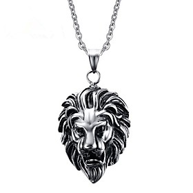 Men's Pendant Necklace Lion Vintage Punk Stainless Steel Titanium Steel Silver Necklace Jewelry One-piece Suit For Gift Daily