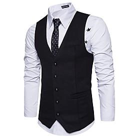 Men's Work Basic Spring / Fall Regular Vest, Solid Colored V Neck Sleeveless Polyester Dark Gray / Navy Blue / Light gray / Slim