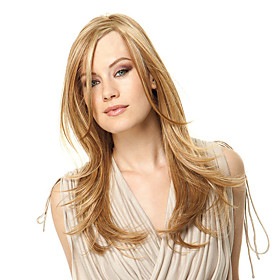 Synthetic Wig Straight Straight Wig Blonde Long Strawberry Blonde Synthetic Hair Women's Side Part Blonde