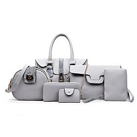 Women's Zipper PU Bag Set Bag Sets 6 Pieces Purse Set Black / Brown / Light Grey