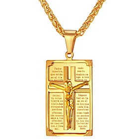 Men's Pendant Necklace franco chain Cross Classic faith Stainless Steel Gold Silver Necklace Jewelry One-piece Suit For Gift Daily