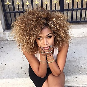 Synthetic Wig Curly Curly With Bangs Wig Blonde Medium Length Blonde Synthetic Hair Women's Ombre Hair Highlighted / Balayage Hair With Bangs Blonde