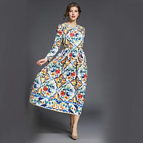 Women's Floral Maxi Rainbow Dress Street chic Fall Daily Work A Line Swing Print M L