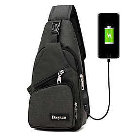Men's Bags PU Leather / Nylon Sling Shoulder Bag Zipper for Outdoor Black / Blue / Purple / Gray