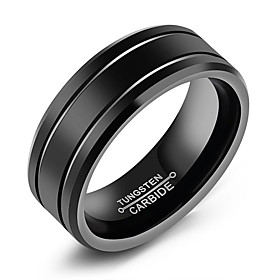Men's Band Ring Groove Rings Black Titanium Steel Tungsten Steel Titanium Circle Fashion Initial Daily Formal Jewelry Classic Classic Theme