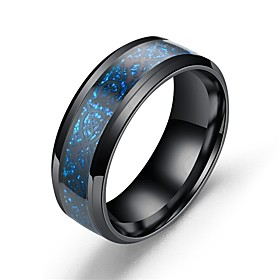 Men's Band Ring Light Blue Silver-Blue Gold Stainless Steel Titanium Steel Asian Vintage Gift Daily Jewelry Dragon Magic