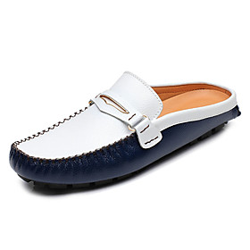 Men's Clogs  Mules Moccasin Casual Cowhide Black / Yellow / Blue Spring / Fall