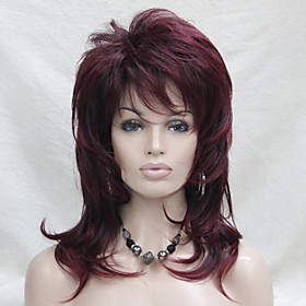 Synthetic Wig Wavy Wavy Layered Haircut With Bangs Wig Medium Length Black / Burgundy Synthetic Hair Women's Side Part Red Hivision