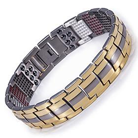 Men's Chain Bracelet Hologram Bracelet Two tone Titanium Steel Bracelet Jewelry Black / Gold / Silver For Causal Daily