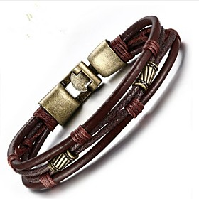 Men's Chain Bracelet Leather Bracelet Twisted Fashion Leather Bracelet Jewelry Brown For Gift Daily