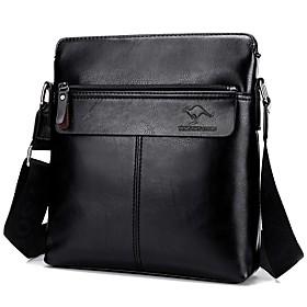 Men's Zipper PU Shoulder Messenger Bag Animal Black / Dark Brown / Khaki