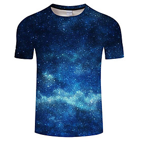 Men's Plus Size Galaxy Print T-shirt Daily Round Neck Blue / Summer / Short Sleeve