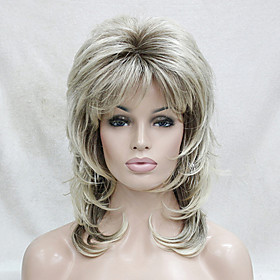 Synthetic Wig Wavy Wavy Layered Haircut With Bangs Wig Blonde Medium Length Blonde Synthetic Hair Women's Blonde Hivision