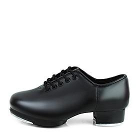 Women's Tap Shoes Sneaker Low Heel Faux Leather Black