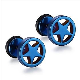 Men's Stud Earrings Geometrical flat back Punk Fashion Stainless Steel Earrings Jewelry Silver / Rainbow / Blue For Gift Daily