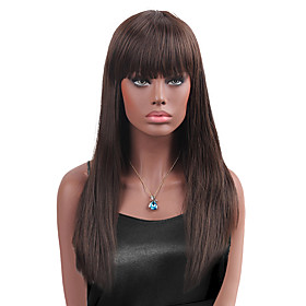 Synthetic Wig Straight Straight With Bangs Wig Long Chestnut Brown Synthetic Hair Women's Brown StrongBeauty