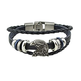 Men's Women's Wrap Bracelet Leather Bracelet Stack Eagle Vintage Basic Leather Bracelet Jewelry Black / Brown For Date Street