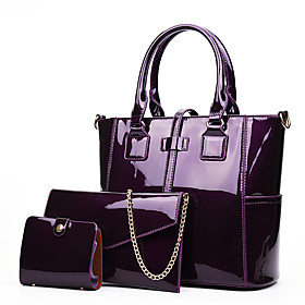 Women's Zipper Patent Leather Bag Set Bag Sets 3 Pcs Purse Set Purple / Red / Blue