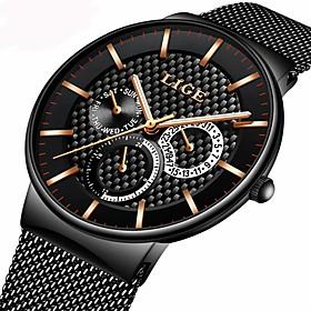 Men's Bracelet Watch Luxury Water Resistant / Waterproof Analog Black / Gold Black / Silver Black / Two Years / Stainless Steel / Stainless Steel / Japanese /