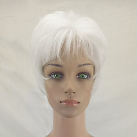 Synthetic Wig Straight Kardashian Straight Layered Haircut Wig Short White Synthetic Hair Women's Natural Hairline White hairjoy