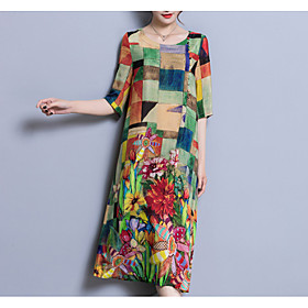 Women's Midi Dress - 3/4 Length Sleeve Color Block Patchwork Summer U Neck Plus Size Chinoiserie Loose Rainbow L XL XXL 3XL 4XL 5XL